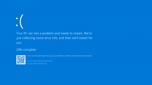 Example of Windows Blue Screen of Death