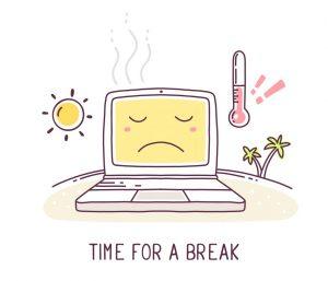 Computer overheating cartoon